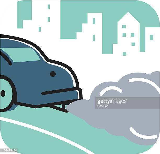 Car emitting fumes