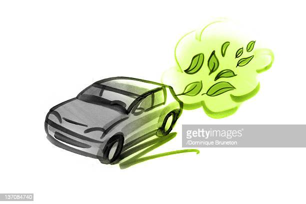 car emitting green leaves - hybrid car stock illustrations, clip art, cartoons, & icons