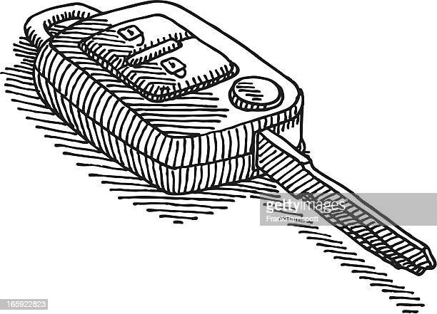 car key drawing - car key stock illustrations, clip art, cartoons, & icons