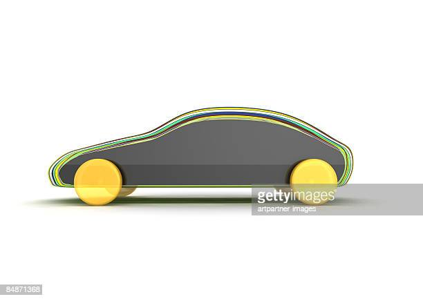 car model, draft on white background
