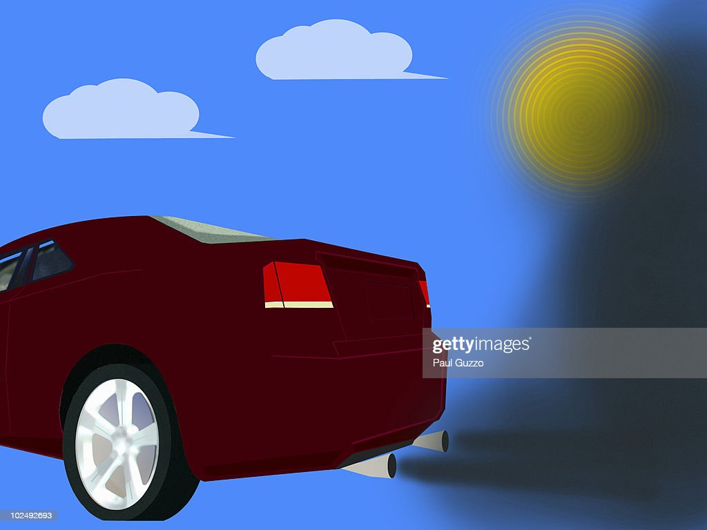 Car omitting black fumes : stock illustration