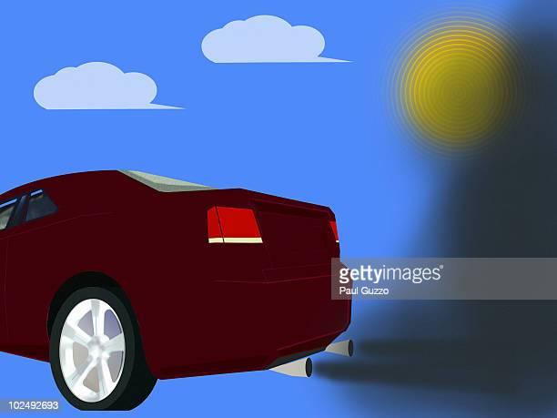 Car omitting black fumes