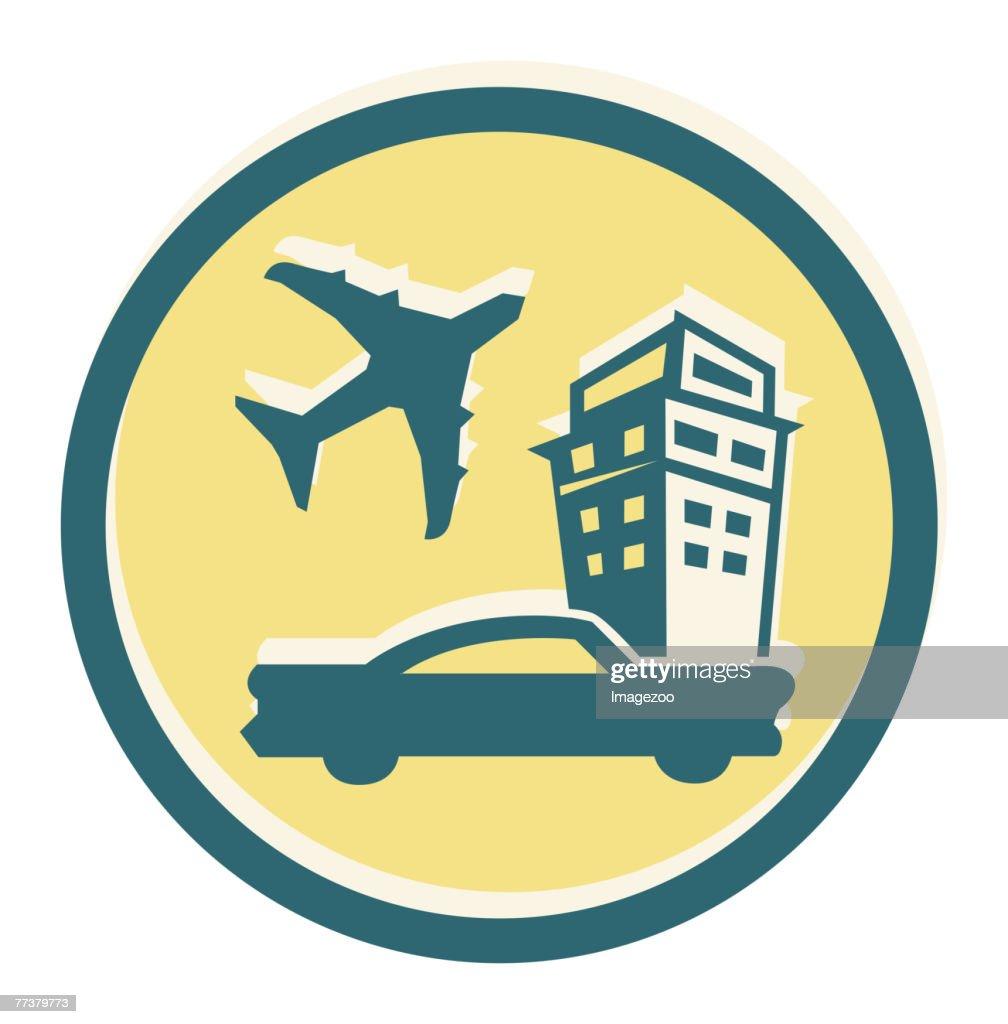 car, plane and hotel : Illustration