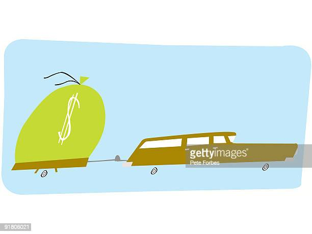 a car pulling a large sack of money - gas prices stock illustrations, clip art, cartoons, & icons
