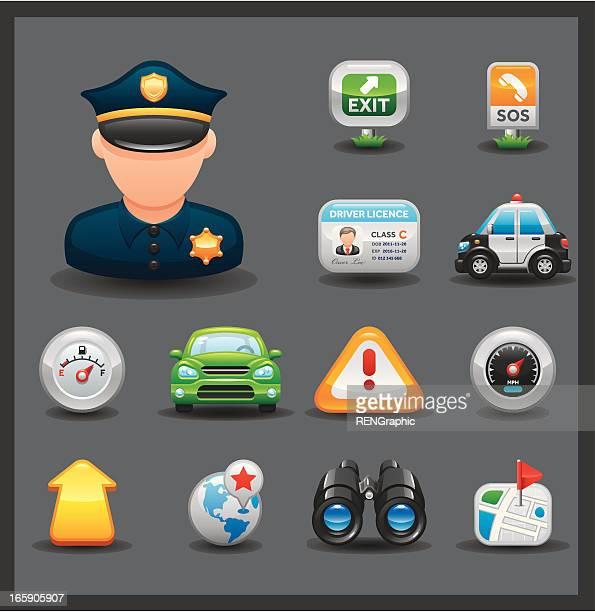 illustrations, cliparts, dessins animés et icônes de voiture & road ensemble d'icônes// série foncé brillant - permis de conduire