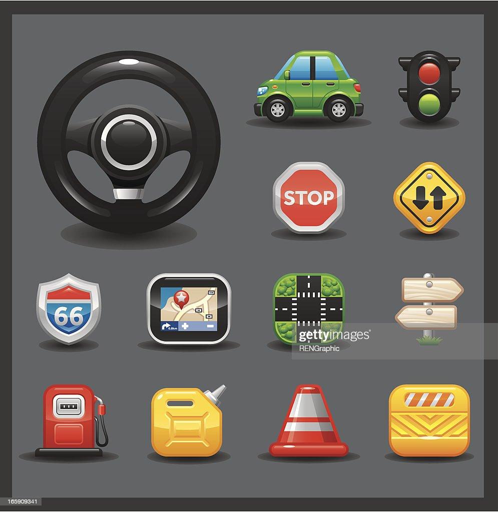 Car & Road Icon Set | Shiny Series / Dark