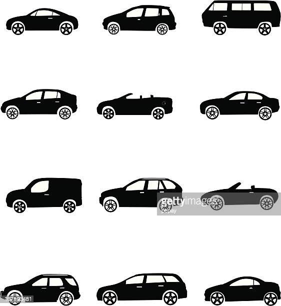car silhouettes - hatchback stock illustrations, clip art, cartoons, & icons