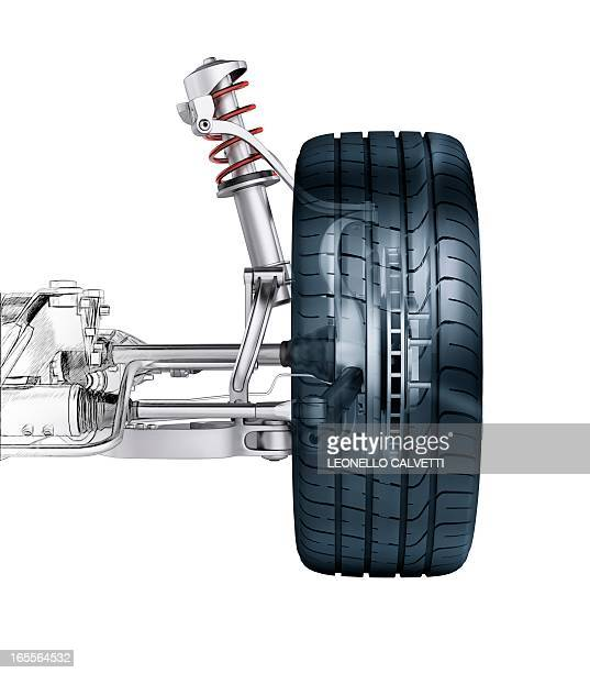 car suspension, artwork - chassis stock illustrations