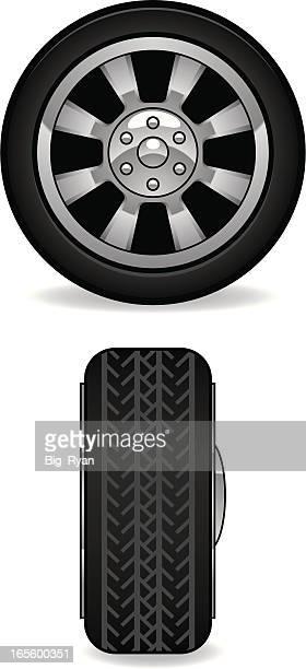 car tire - hub stock illustrations