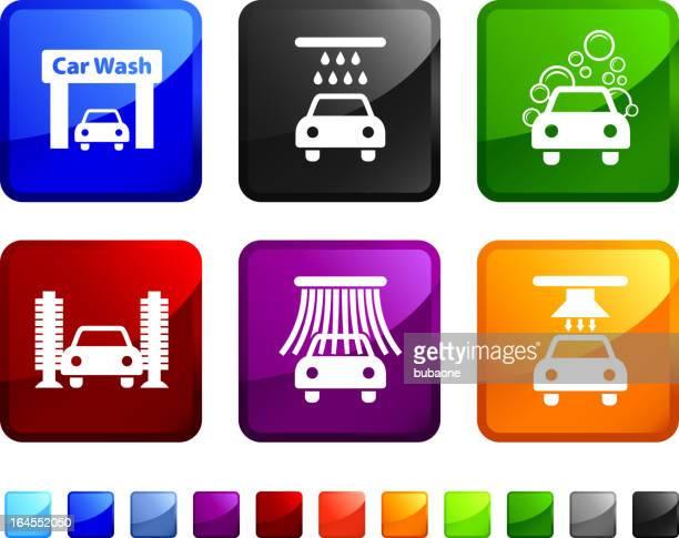 car wash royalty free vector icon set - car wash brush stock illustrations