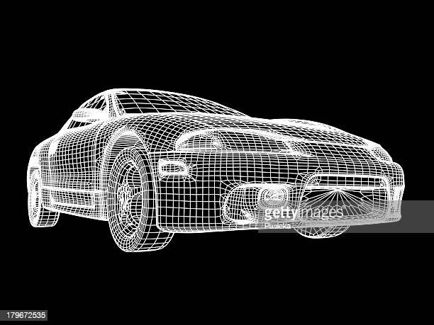 car, wireframe - wire frame model stock illustrations