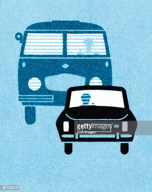 car with bus behind it - traffic stock illustrations