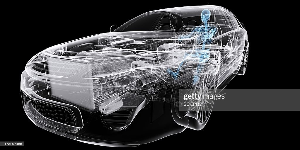 Car with driver, artwork : stock illustration