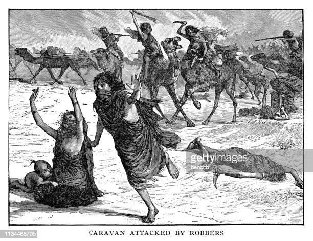 ilustraciones, imágenes clip art, dibujos animados e iconos de stock de caravana atacada por ladrones - maltrato infantil