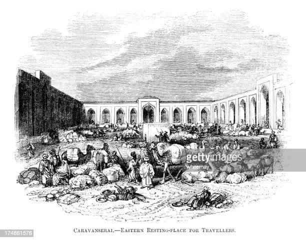caravanserai - a resting place for travellers (victorian engraving) - north african ethnicity stock illustrations, clip art, cartoons, & icons