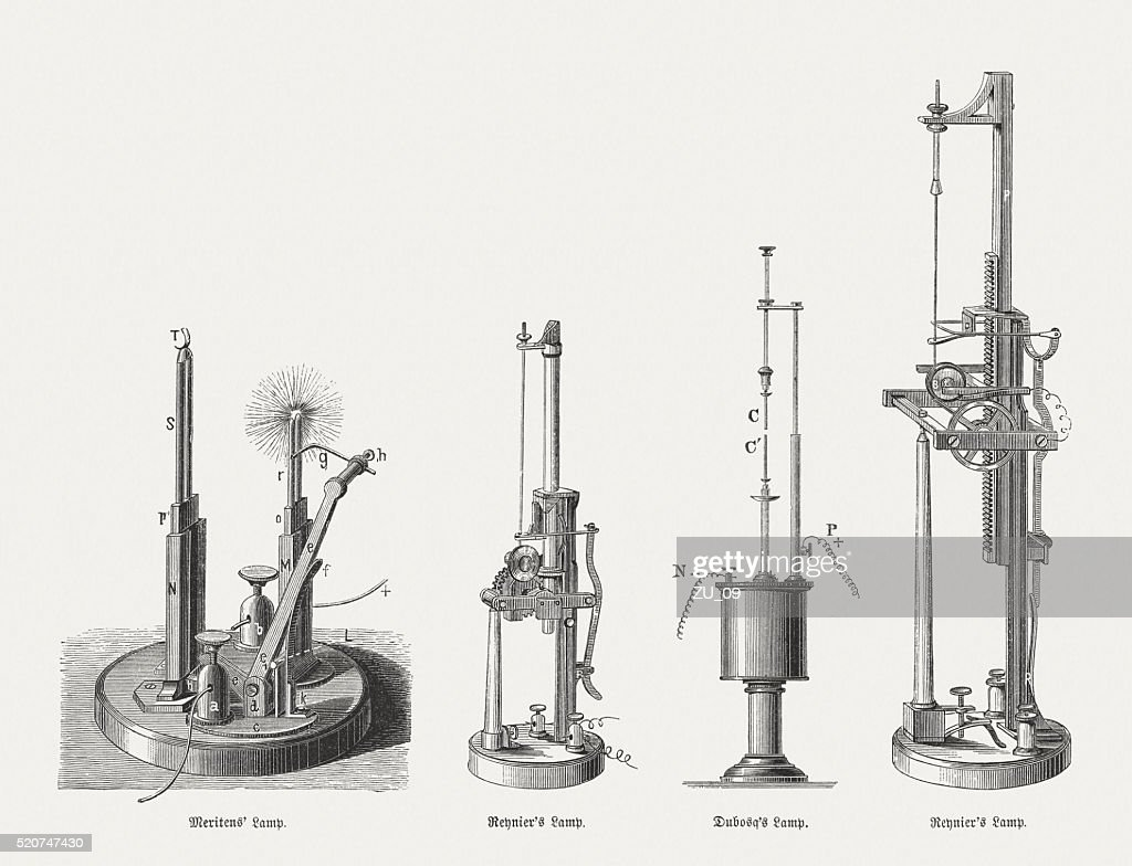 Carbon Arc Lamps, Wood Engravings, Published In 1880 : Stock Illustration