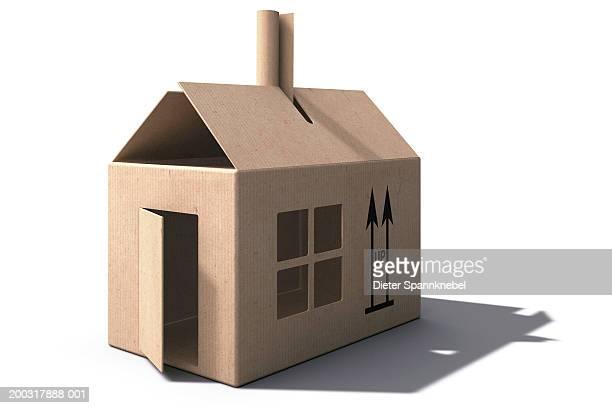 illustrazioni stock, clip art, cartoni animati e icone di tendenza di cardboard box house (digital) - rappresentare
