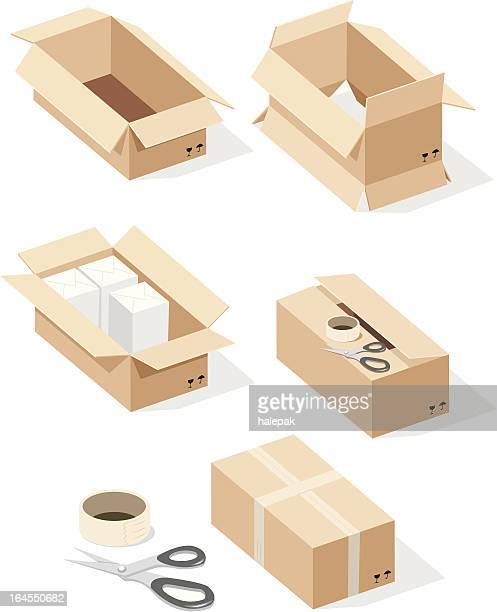 cardboard box, sealing tape, scissors