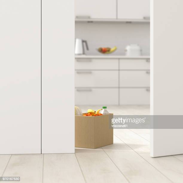 cardboard box with groceries in kitchen behind ajar door, 3d rendering - consumerism stock illustrations