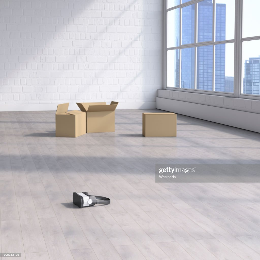Empty Room: Cardboard Boxes And Vr Goggles In Empty Room Stock