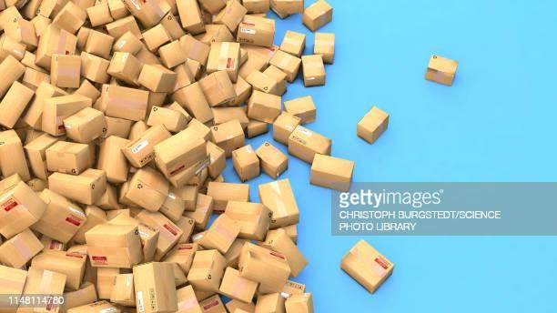 cardboard boxes, illustration - writing stock illustrations