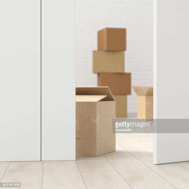 cardboard boxes in a room behind ajar door, 3d rendering - new home stock illustrations, clip art, cartoons, & icons