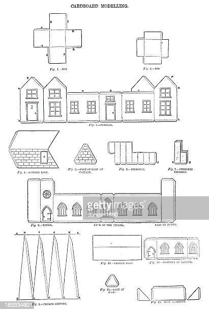 cardboard modelling - model to scale stock illustrations, clip art, cartoons, & icons