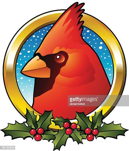 カーディナルのクリスマスフレーム