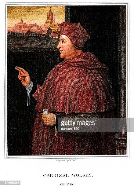 cardinal thomas wolsey - bishop clergy stock illustrations, clip art, cartoons, & icons