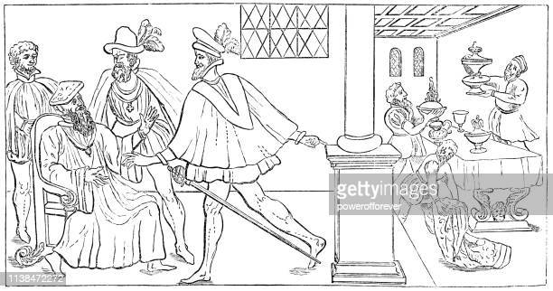 cardinal thomas wolsey surrendering the great seal - 16th century - great seal stock illustrations, clip art, cartoons, & icons