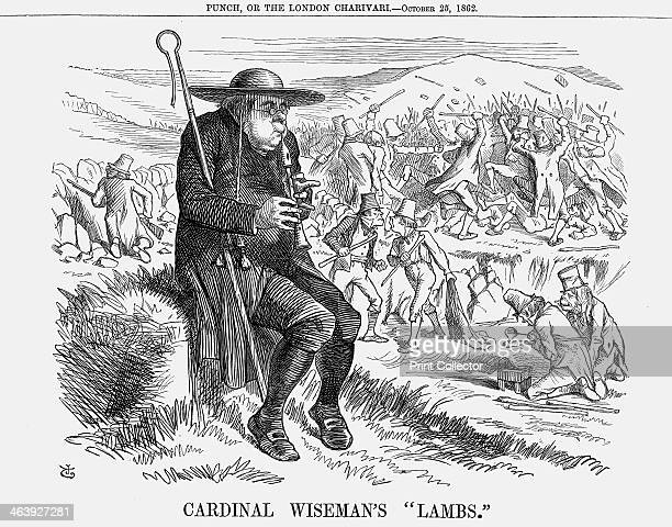 'Cardinal Wiseman's Lambs' 1862 This cartoon depicts Cardinal Wiseman head of the Catholic Church in England He sits on a mossy rock playing his...