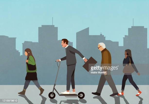 carefree businessman riding motorized scooter in city - carefree stock illustrations