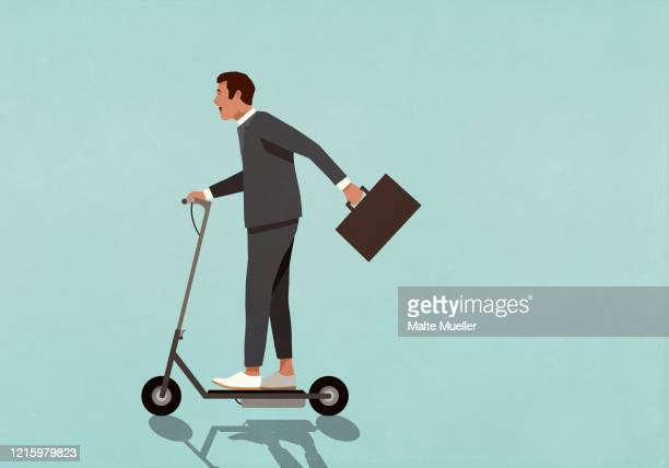 carefree businessman with briefcase riding motorized scooter - carefree stock illustrations