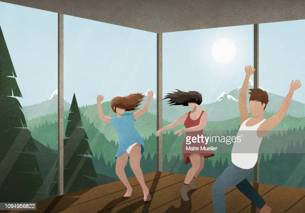 carefree friends dancing in glass house with sunny mountain and forest view - friendship stock illustrations