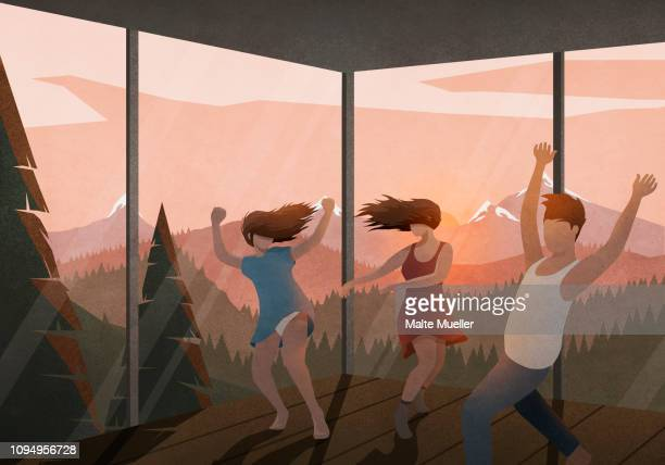 carefree friends dancing in house with sunset mountain view - party social event stock illustrations