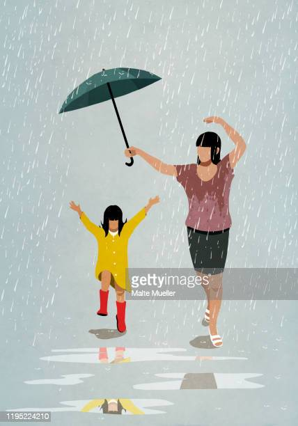 carefree mother and daughter dancing in rain - family stock illustrations