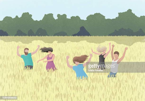 carefree people dancing in rural wheat field - friendship stock illustrations