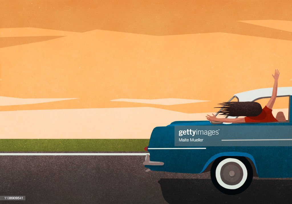 Carefree woman enjoying road trip, leaning out of car window : stock illustration
