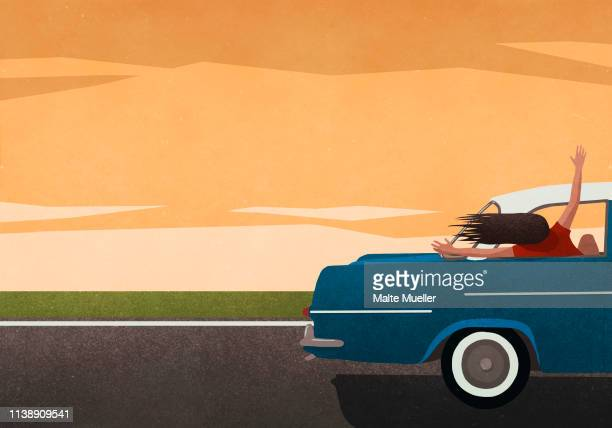 ilustraciones, imágenes clip art, dibujos animados e iconos de stock de carefree woman enjoying road trip, leaning out of car window - viaje