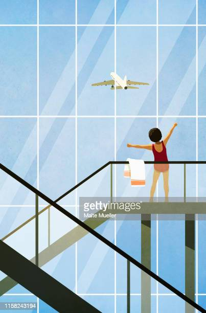 carefree woman in bathing suit stretching on airport escalator - carefree stock illustrations