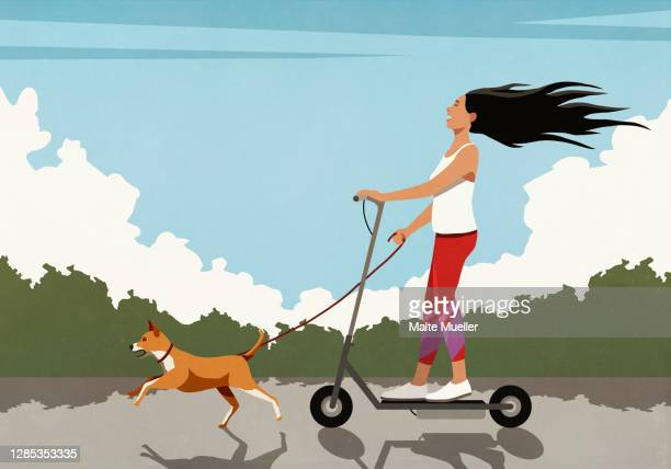 carefree woman riding electric scooter with running dog - leisure activity stock illustrations