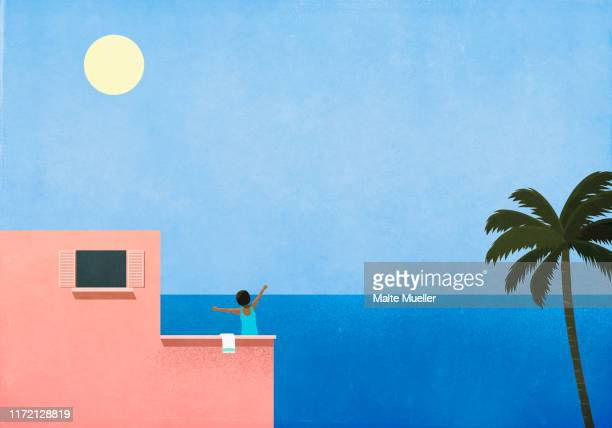carefree woman stretching on sunny oceanside villa - peace stock illustrations, clip art, cartoons, & icons