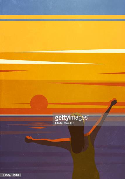 carefree woman with arms outstretched enjoying sunset view over ocean - waist up stock illustrations