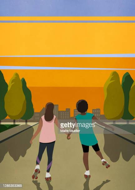 carefree women friends roller skating on street at sunset - road stock illustrations