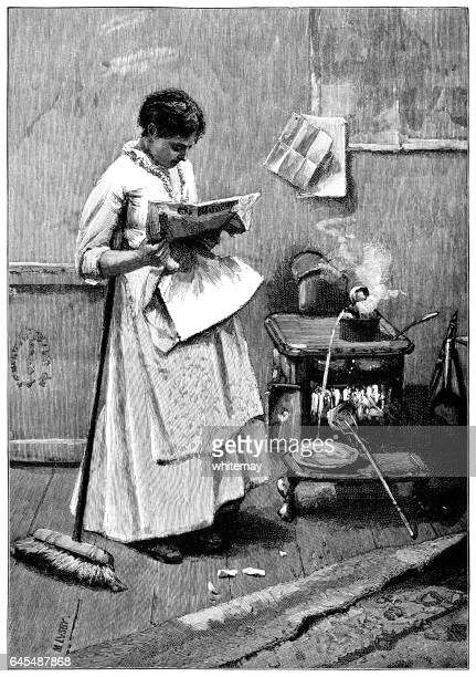 Careless Victorian woman reading and spoiling food in the kitchen