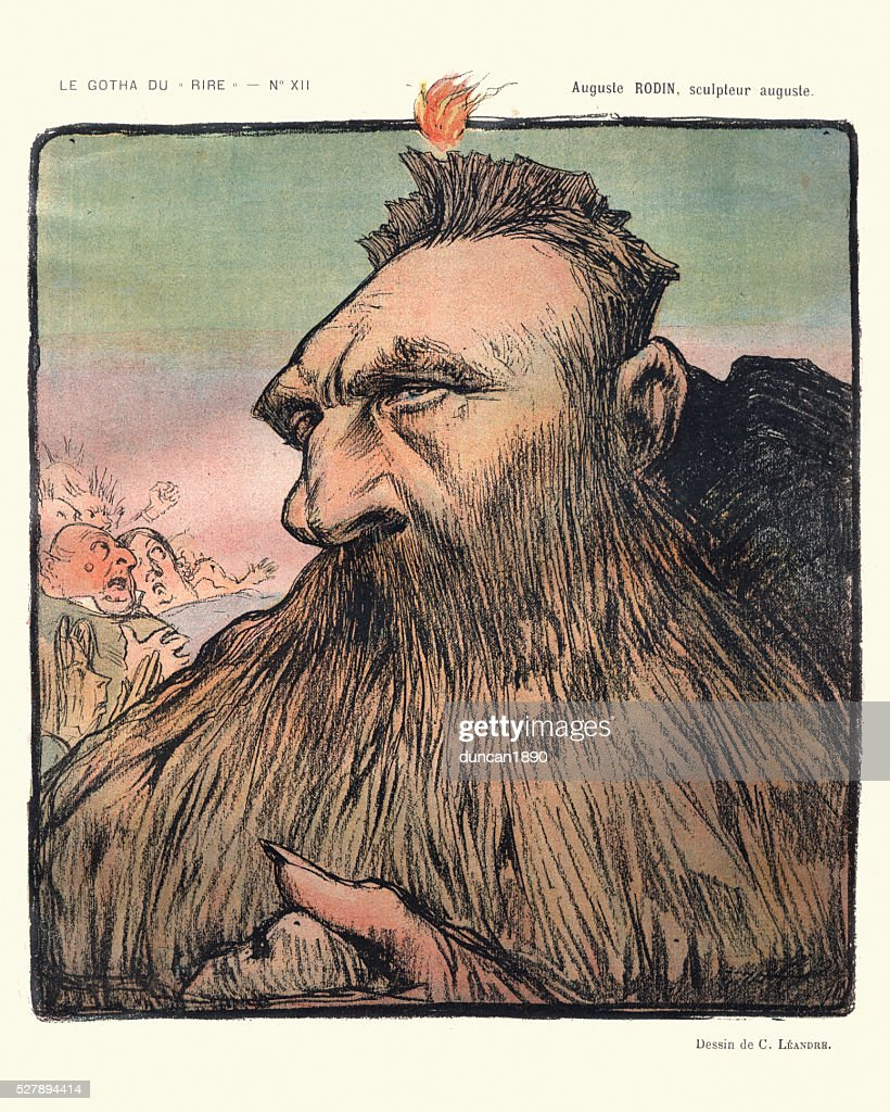 Caricature of Auguste Rodin : Stockillustraties