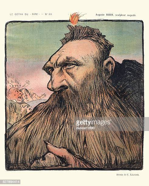 caricature of auguste rodin - roda stock illustrations