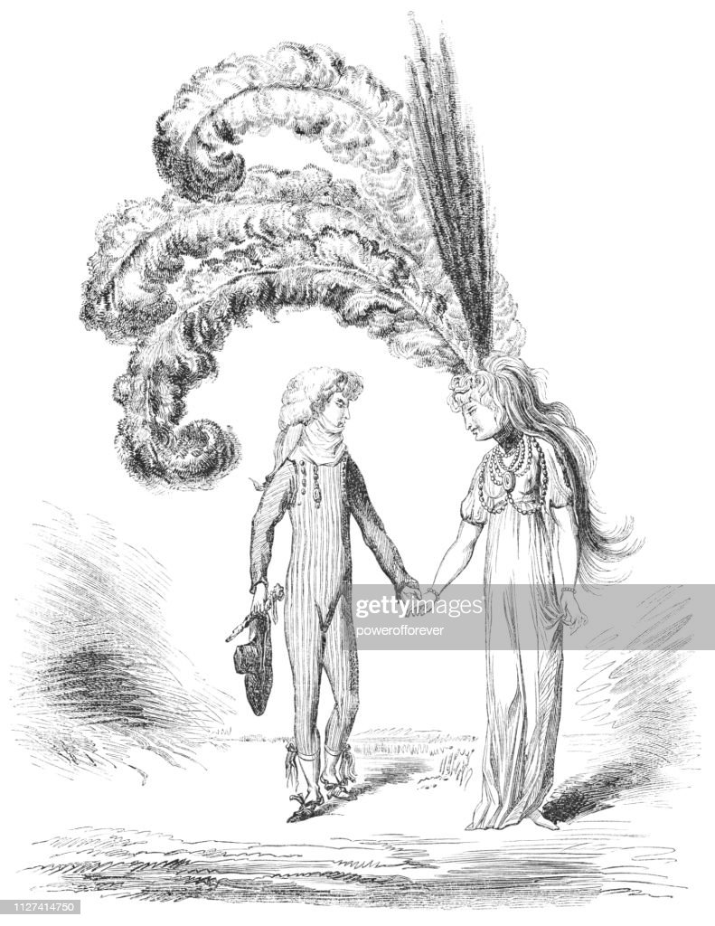 Caricature of Directoire Fashion in the late 1790s - 18th Century : stock illustration