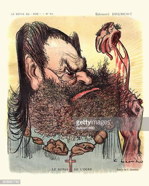 caricature of edouard drumont - le repas de l'orge - anti semitism stock illustrations