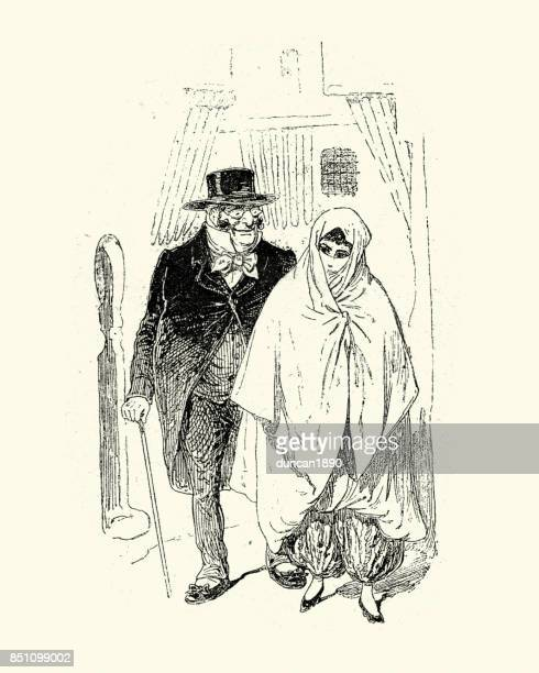 caricature of john bull and an egyptian woman, 19th century - sexual harassment stock illustrations, clip art, cartoons, & icons